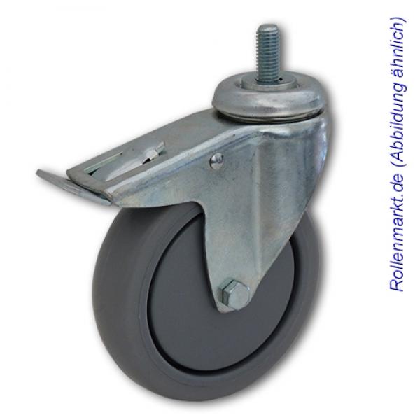 schwere apparate lenkrolle mit totalstopp und grauem tp gummirad und. Black Bedroom Furniture Sets. Home Design Ideas