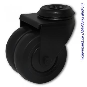 Apparate-Doppel-Lenkrolle mit schwarzem Gehäuse, schwarzem TP-Gummirad 75 mm, Kugellager und Rückenlochbefestigung