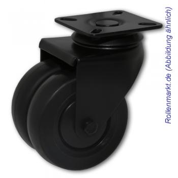 Apparate-Doppel-Lenkrolle mit schwarzem Gehäuse, schwarzem TP-Gummirad 75 mm, Kugellager und Plattenbefestigung