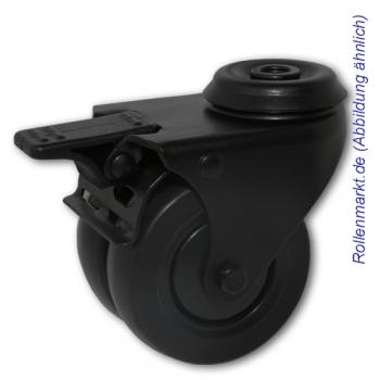 Apparate-Doppel-Lenkrolle mit Totalstopp, schwarzem Gehäuse, schwarzem TP-Gummirad 75 mm, Kugellager und Rückenlochbefestigung