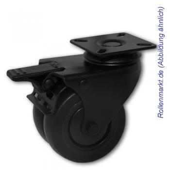 Apparate-Doppel-Lenkrolle mit Totalstopp, schwarzem Gehäuse, schwarzem TP-Gummirad 75 mm, Kugellager und Plattenbefestigung