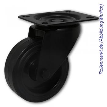 Lenkrolle mit schwarzem Gehäuse, schwarzem Elastik-Vollgummirad 100 mm und Plattenbefestigung