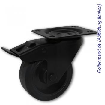 Lenkrolle mit Totalstopp, schwarzem Gehäuse, schwarzem Elastik-Vollgummirad 100 mm und Plattenbefestigung