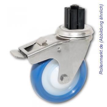 Edelstahl-Lenkrolle mit Totalstopp, blauem Polyurethanrad 100 mm und Befestigung für 4-Kant-Rohre