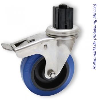 Edelstahl-Lenkrolle mit Totalstopp, blauem Elastik-Vollgummirad 100 mm und Befestigung für 4-Kant-Rohre