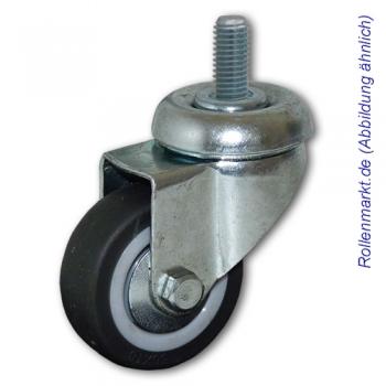 Apparate-Lenkrolle mit grauem TP-Gummirad 50 mm, Gleitlager und Gewindebefestigung M8