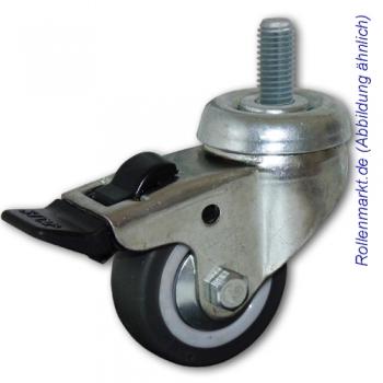 Apparate-Lenkrolle mit Totalstopp, grauem TP-Gummirad 50 mm, Gleitlager und Gewindebefestigung M8