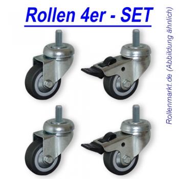Rollen-Set: 2x Lenk, 2x Feststeller, Rad 50mm, Gleitlager und Gewindebefestigung M10