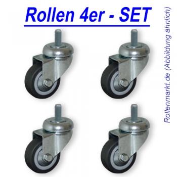 Rollen-Set: 4x Lenkrolle, Rad 50mm, Gleitlager und Gewindebefestigung M8