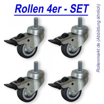 Rollen-Set: 4x Lenkrolle mit Feststeller, Rad 50mm, Gleitlager und Gewindebefestigung M8