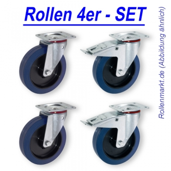 Transportrollen SET BLUE WHEEL 100 mm wahlweise 2x Lenk / 2x Fesi, 2x Lenk / 2x Bock oder 2x Fesi / 2x Bock