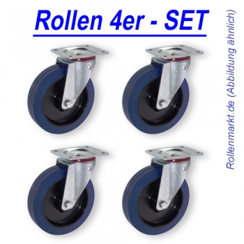 Transportrollen SET BLUE WHEEL 100 mm wahlweise 4x Lenk, 4x Bock oder 4x Fesi