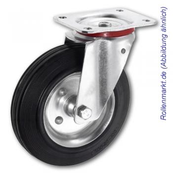 Transportgeräte-Lenkrolle mit schwarzem Gummirad 80 mm und Plattenbefestigung