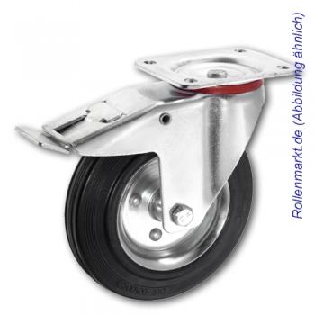 Transportgeräte-Lenkrolle mit Totalstopp, schwarzem Gummirad 80 mm und Plattenbefestigung