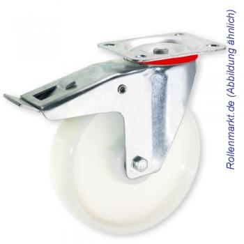Transportgeräte-Lenkrolle mit Totalstopp, weißem Polyamidrad 100 mm und Plattenbefestigung