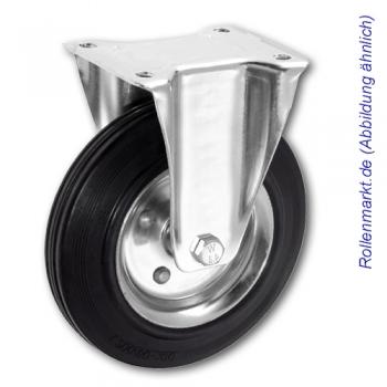 Transportgeräte-Bockrolle mit schwarzem Gummirad 80 mm und Plattenbefestigung