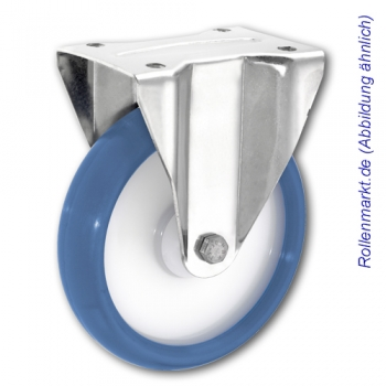 Edelstahl-Bockrolle mit blauem Polyurethanrad 80 mm und Plattenbefestigung